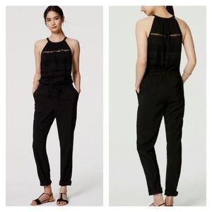 Make Offer Loft Black Textured Fringe Jumpsuit